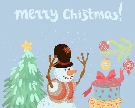 Merry Christmas hand drawn banner or poster with snowman and Xmas tree, cartoon vector illustration. Layout for winter holidays prints and cards with congratulatory inscription.
