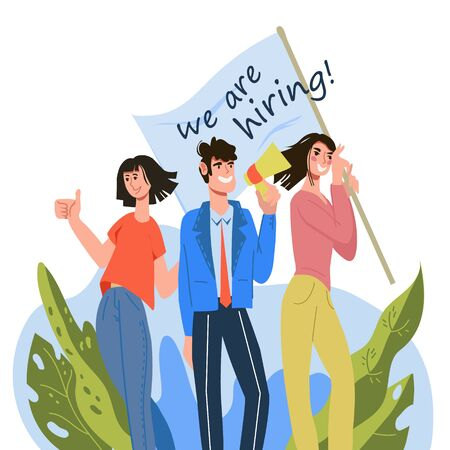 Recruiting agency or human resources department looking for candidate for vacancy. Vector Illustratie