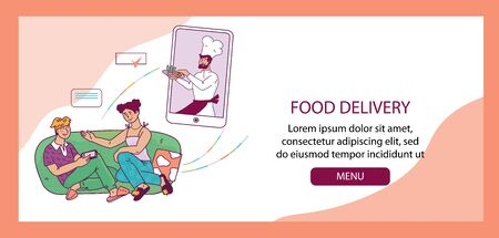 Food delivery banner template with people ordering meal and chief cook, vector.
