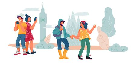 Tourists and hikers men and women cartoon characters traveling and sightseeing, flat vector illustration isolated. Banner for tourism and vacation topics, leisure and recreation on nature.