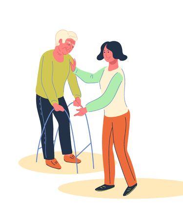 Jeune femme bénévole s'occupant d'un homme handicapé âgé, illustration vectorielle plane isolée sur fond blanc. Prise en charge et prise en charge des personnes âgées et handicapées, accompagnement social et responsabilité. Vecteurs