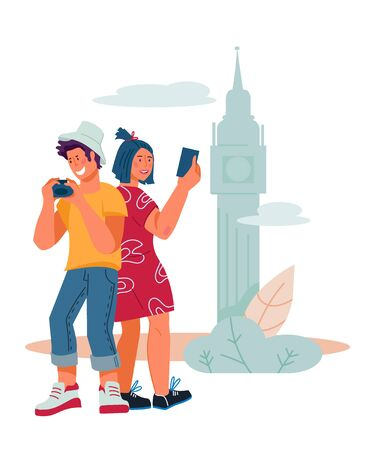 Young travel couple - sightseeing and making selfie on the background of tourist attractions. Tourism and summer holidays abroad, travel and leisure. Vector flat cartoon illustration isolated.