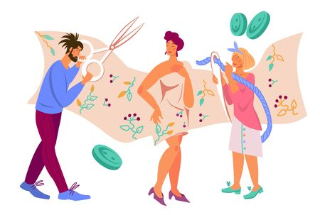 Banner with people cartoon characters working in atelier or sewing workshop, flat vector illustration isolated. Fashion clothing tailors and dressmakers, designers at work, needlework and crafting.
