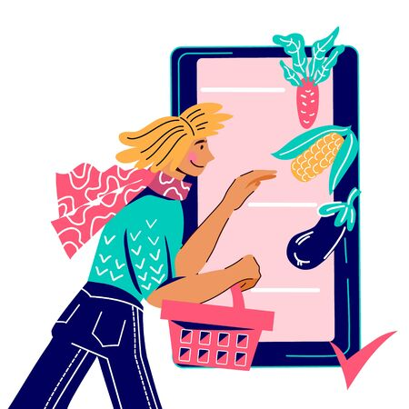 Farmers products online ordering and delivery banner with woman character shopping food in mobile app, flat cartoon vector illustration isolated on background. Agricultural market or fair poster. Foto de archivo - 135431987