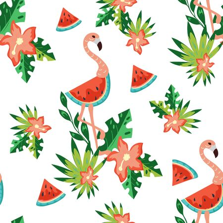 Summer seamless pattern with pink flamingo, watermelon slice and tropical leaves, flat vector illustration. Endless background texture for fabric prints and invitation cards.