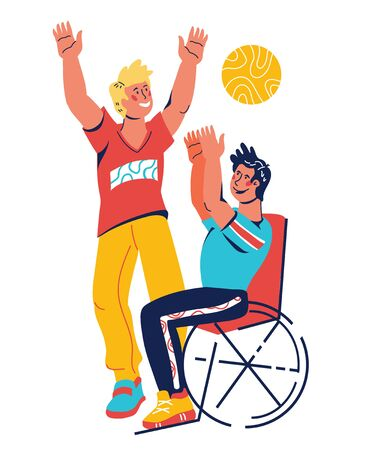 Active disabled man in wheelchair performing sport activity, flat vector illustration isolated. Handicapped people with moving difficulties socialization and rehabilitation, active social life.