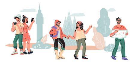 Bannière de tourisme et de voyage avec des personnages de personnes voyageant et faisant du tourisme, illustration vectorielle de dessin animé isolée. aventure de vacances et voyage international, sites touristiques célèbres en visite.