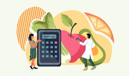 Nutritionists or dietologs assistance for healthy dieting banner with people characters on background with food icons. Nutrition plan for weight control, slimming and health. Flat vector Illustration.