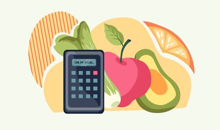 Healthy dieting banner template with with food icons and Calculator for Calories Counting. Vettoriali