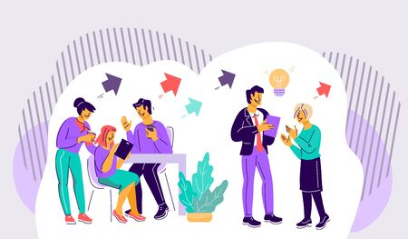 Teamwork communication, productive cooperation on joint project and friendly job environment. Office employees characters work successfully. Partnership and collaboration. Flat vector illustration.