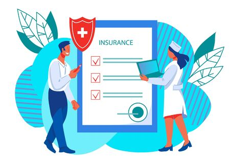 Medical insurance banner - businessman character fills out contract on healthcare services and doctor.