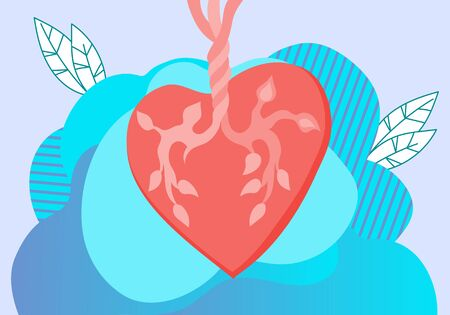 Human heart a blood circulatory system organ. Cardiology, biology and healthcare. Illustration
