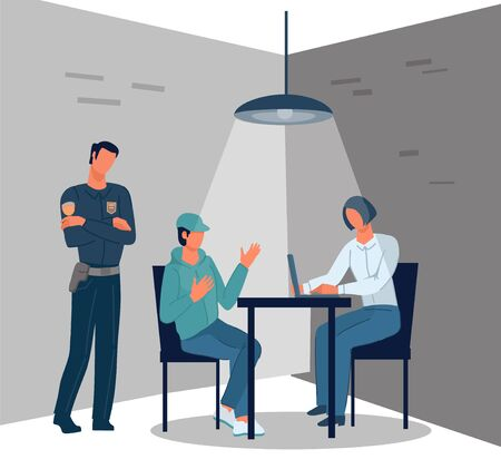 Interrogation criminal with lamp. Policeman and secretary questioning arrested suspected man. interviewing by police in police office interior. Vector flat style cartoon illustration