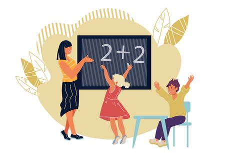 Classroom with teacher and pupils cartoon characters. School lesson with pedagogue explaining math, banner for teachers day. Education and children early development. Vector illustration isolated.