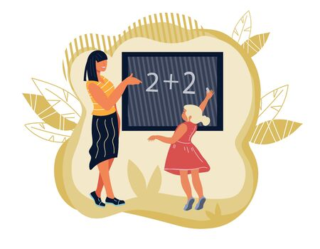 School lesson scene banner for teachers day. Teacher and school girl cartoon characters writing on blackboard. Education, schooling and children early development. Flat vector illustration isolated.