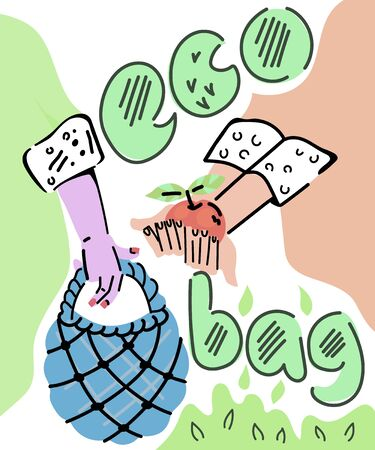 Hands holding eco bag and putong ecologically clean food product into it, sketch cartoon illustration in doodle style. No plastic and recycling banner. Environment friendly goods and Zero Waste.