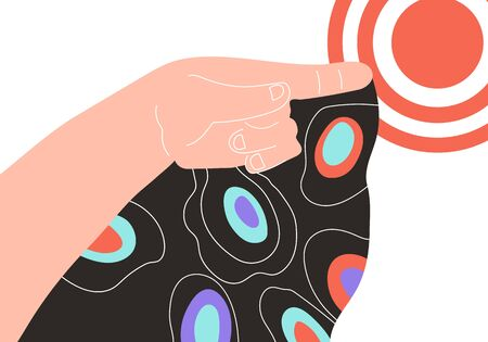 Hand pointing to target - business goal achievements metaphor, flat cartoon vector illustration isolated. Successful development and career growth strategy. Personal growth and leadership on market.
