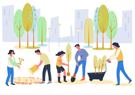 Volunteers and active citizens planting trees together in city park, vector flat illustration. Greening and spring renovations, urban environment improving. Volunteering, charity and social issues.