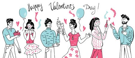 Happy Valentines Day Greeting Banner with Romantic couples exchange presents and wishes. Balloons and girlfriends and boyfriends. Festive design for Saint Valentine Holiday. Sketch vector illustration. Archivio Fotografico - 138293157