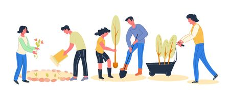 Banner with volunteers people cartoon characters planting trees and flowers together in city park, vector flat illustration isolated. Spring renovations and urban environment improving. Ilustrace