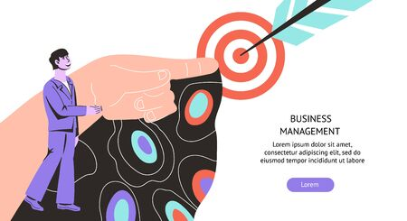 Business management web banner with businessman and target. Financial development planning and income growth strategy. Accounting and budget administration services. Flat vector illustration. Stock Illustratie