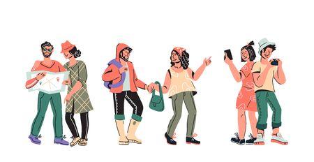Touristen und Reisende Gruppe - Menschen Cartoon-Figuren-Vektor-Illustration isoliert. Vektorgrafik
