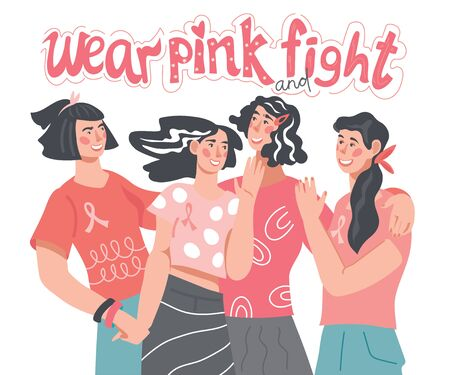 Women wear pink ribbons and t-shirts - banner for Breast Cancer Awareness Day. Motivational slogan to fight cancer, social support, solidarity and charity. Flat vector illustration isolated.