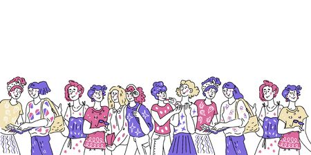 Banner with group of diverse women cartoon characters and copy space for text. Female friendship, womens day and feminism concept. Vector illustration in sketch style.