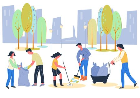 Volunteers social work for environment conservation and cleaning city from waste. Urban ecology and garbage collecting. Town renovation and keeping eco clean and green. Flat vector illustration. Ilustração Vetorial
