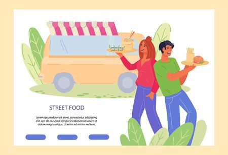 Street food festival or fair landing page with food truck and couple enjoying meals. Culinary feast restaurant or cafeteria web banner template. Flat vector illustration. Vektorgrafik