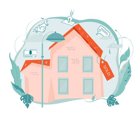 Real Estate concept - house or cottage building with with Sold badge. Housing sale and property marketing banner background. Flat vector illustration isolated.