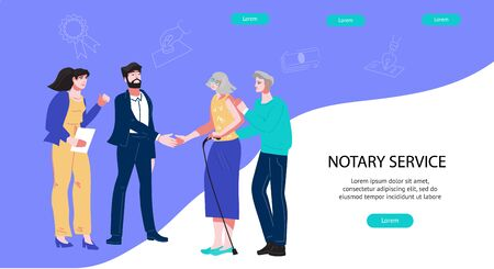 Public Notary Agency banner with lawyers and senior elderly clients. Inheritance document arrangement, certify contracts and deeds. Notarial legal support in bequest. Flat vector illustration.