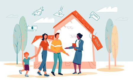 Real estate agency banner template with family and realtor make agreement about property purchasing at sold house background. Property sale and investments to housing. Flat vector illustration. Ilustração