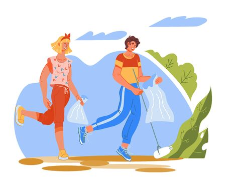 Plogging ecological challenge concept with running people picking up trash into litter bags. Ecology and recycling, planet clean from waste. Flat cartoon vector illustration isolated.