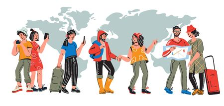 International tourism banner with travelers. Characters of young people traveling around the world at map background. Vacation tour and journey concept. Flat cartoon vector illustration.