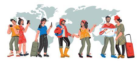 Internationales Tourismusbanner mit Reisenden. Charaktere von jungen Leuten, die auf Kartenhintergrund um die Welt reisen. Urlaubsreise und Reisekonzept. Flache Cartoon-Vektor-Illustration.