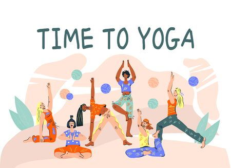 Time to yoga advertising banner with women doing yoga asanas. Yoga mind and body balance and meditation classes and courses promotion flyer or poster template. Flat cartoon vector illustration.