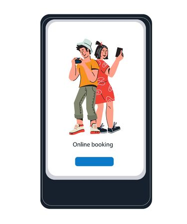 Online booking mobile application design for tourist website. Hotel and tickets internet reservation, travel agency concept with people cartoon characters. Flat vector illustration.