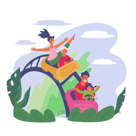 Cheerful family with children riding roller coaster together in amusement park. Summer leisure and entertainment activity background with park landscape elements. Flat vector illustration isolated.