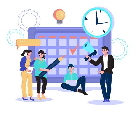 Time management and business planning concept. Business people making schedule, organizing working process. Work efficiency and company development optimization. Flat vector illustration isolated.