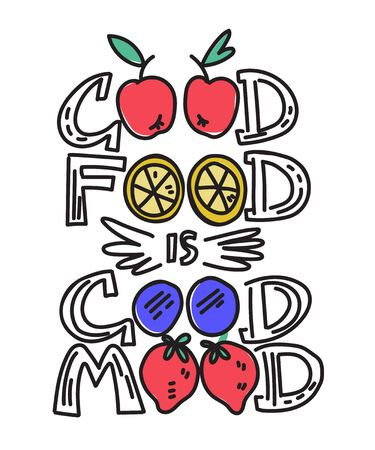 Banner for kitchen items with lettering phrase - Good food is good mood. Calligraphy card design for restaurant or cafe decoration. Typography for textile prints. Vector illustration isolated.