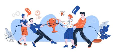 Business teams playing strategic games pulling on opposite ends of rope. Teamwork and marketing competition concept, tug-of-war between competing companies. Cartoon vector illustration isolated.