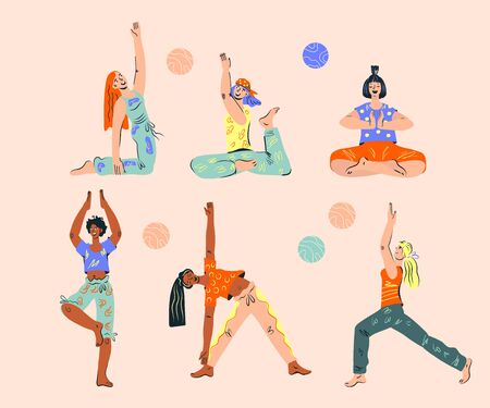 Set of women doing yoga exercise. Body care and healthy fitness activity collection. Mind balance and meditation workout, relaxation. Flat cartoon vector characters isolated. 向量圖像