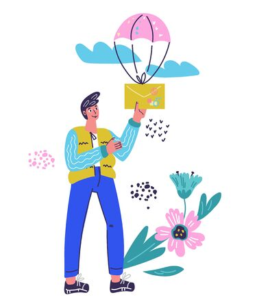 Mail service and correspondence delivery concept with man holding letter or e-mail message. Mail notification, and SMS sending in social network or online chat. Vector illustration isolated.