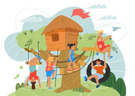 Children playing on playground with tree house. Summer landscape with kids game hut or toy home in forest. Fun and amusement near playhouse. Flat cartoon vector illustration. 向量圖像