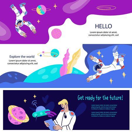 Ensemble de bannières ou de dépliants sur le thème du cosmos avec l'astronaute ou le cosmonaute. Recherche scientifique, technologie Internet de communication avancée et concept d'exploration spatiale. Illustration vectorielle de dessin animé plat.