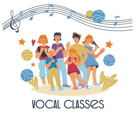 Children vocal classes banner with singing kids cartoon characters. Music lessons, chorus and education. School or preschool musical performance poster. Flat vector illustration isolated background.