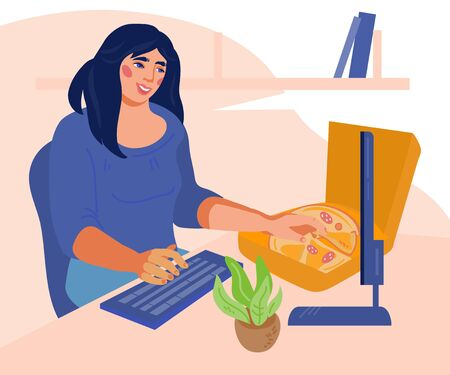 Woman snacks in the workplace. Young girl eating while working at computer. Lifestyle, lunch break for food and business rush concept. Flat vector illustration isolated.