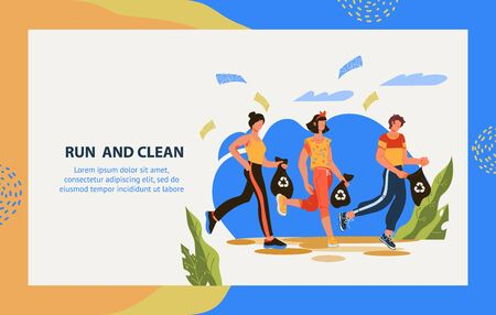 Run to clean the header in web banner template for plogging marathon. Environmental volunteer initiative to clean streets and parks from waste and garbage. Earth day concept. Flat vector illustration. Ilustración de vector