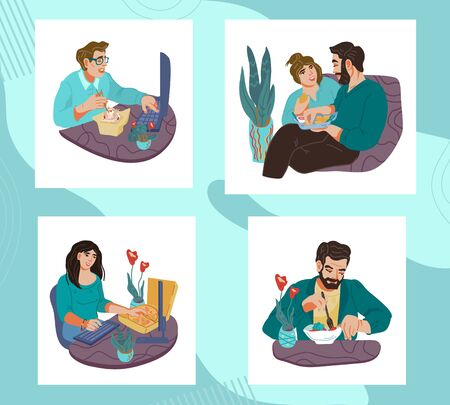 Set of people men and women eating and having a bite. Lunch break or dinner time in office or at home. Healthy and unhealthy food, dieting and snacking. Flat vector illustration isolated. Vektoros illusztráció